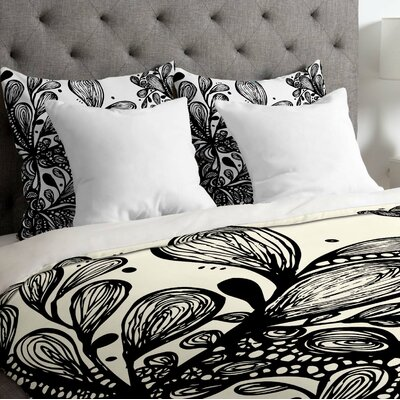 Julia Da Rocha Wild Leaves Duvet Cover Size: Twin, Fabric: Lightweight