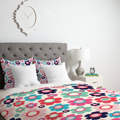 Ali Benyon Indigo Flowers Duvet Cover Size: King, Fabric: Lightweight