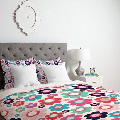 Ali Benyon Indigo Flowers Duvet Cover Size: Queen, Fabric: Lightweight