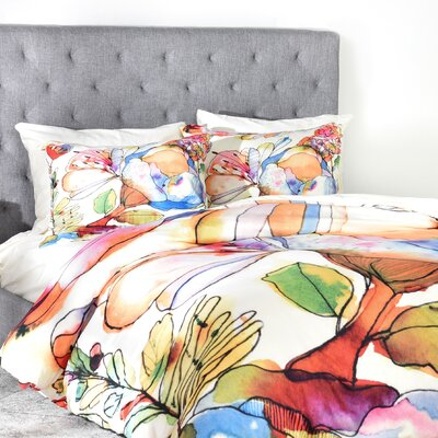 CayenaBlanca Blossom Pastel Duvet Cover Size: Queen, Fabric: Lightweight