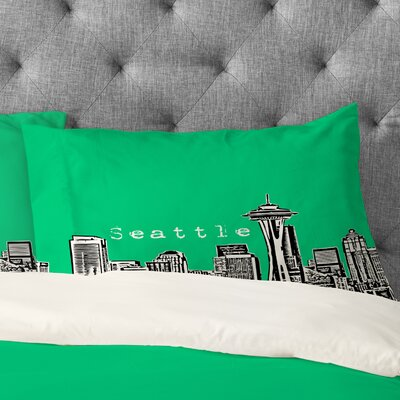 Bird Ave Seattle Pillowcase Size: King, Color: Green