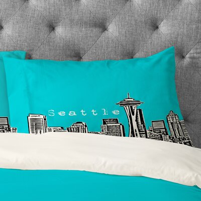 Bird Ave Seattle Pillowcase Size: King, Color: Teal