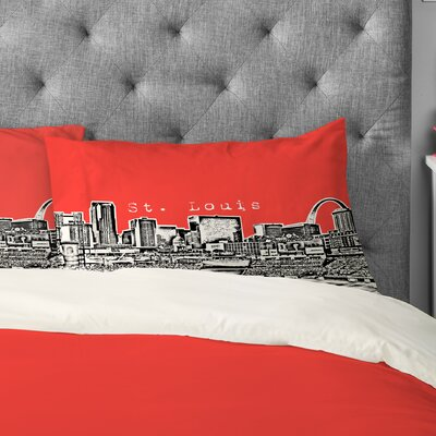 Bird Ave Street Louis Pillowcase Size: King, Color: Red