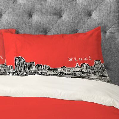 Bird Ave Miami Pillowcase Size: King, Color: Red