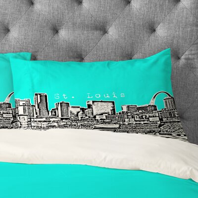 Bird Ave Street Louis Pillowcase Size: King, Color: Aqua