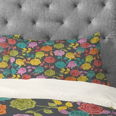 Bianca Green Roses Pillowcase Size: King, Color: Red