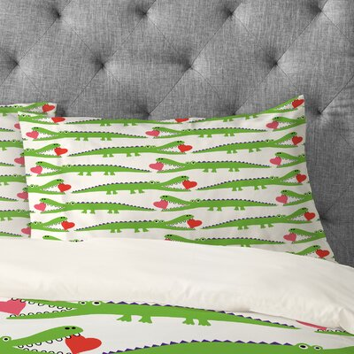 Andi Bird Alligator Love Pillowcase Size: King