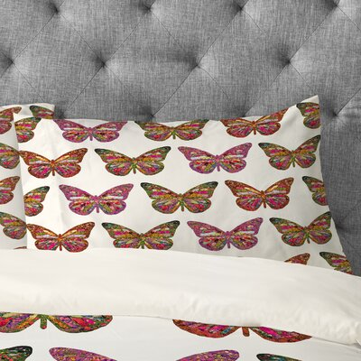Bianca Green Butterflies Fly Pillowcase Size: King