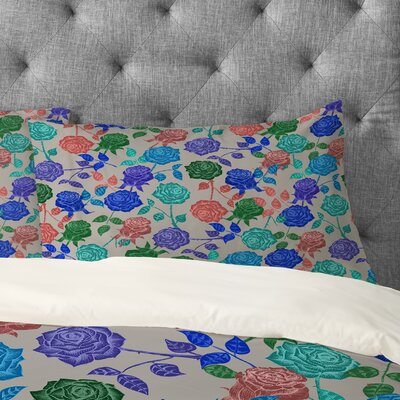 Bianca Green Roses Pillowcase Size: King, Color: Blue