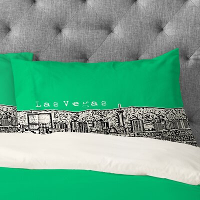 Bird Ave Las Vegas Pillowcase Size: King, Color: Green