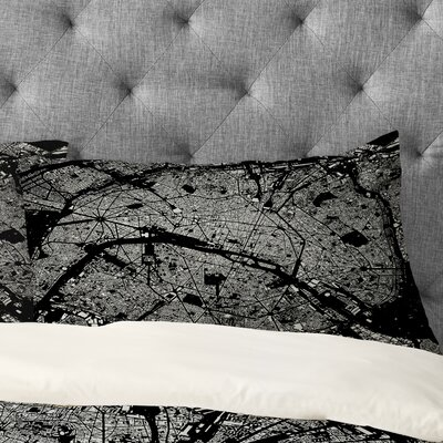 CityFabric Inc Paris Pillowcase Color: Black, Size: King