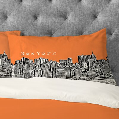Bird Ave New York Pillowcase Size: King, Color: Orange