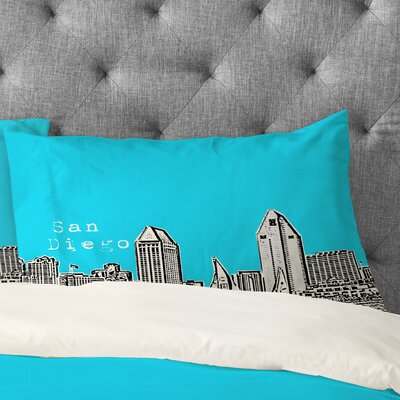 Bird Ave San Diego Pillowcase Size: King, Color: Sky