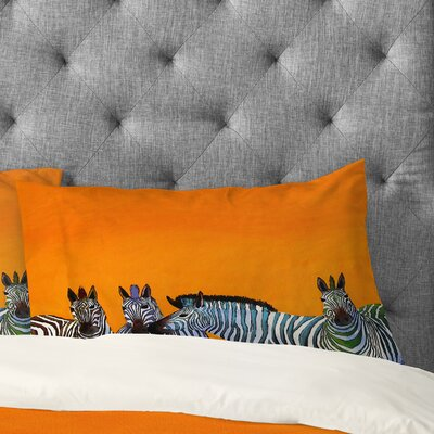 Clara Nilles Candy Stripe Zebras Pillowcase Size: King