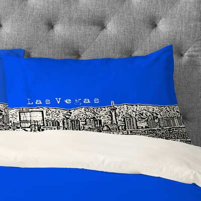 Bird Ave Las Vegas Pillowcase Size: King, Color: Royal