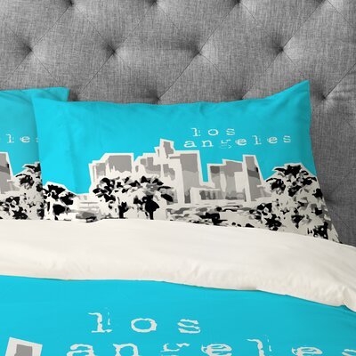 Bird Ave Los Angeles Pillowcase Size: King, Color: Aqua
