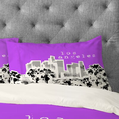 Bird Ave Los Angeles Pillowcase Size: King, Color: Purple