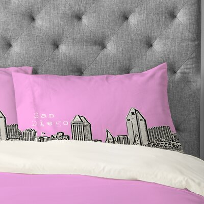 Bird Ave San Diego Pillowcase Size: King, Color: Pink
