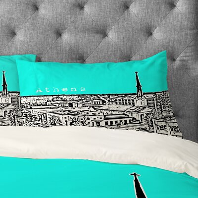 Bird Ave Athens Pillowcase Size: King, Color: Aqua