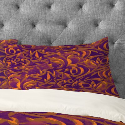 Wagner Campelo Abstract Garden Pillowcase Size: King, Color: Purple