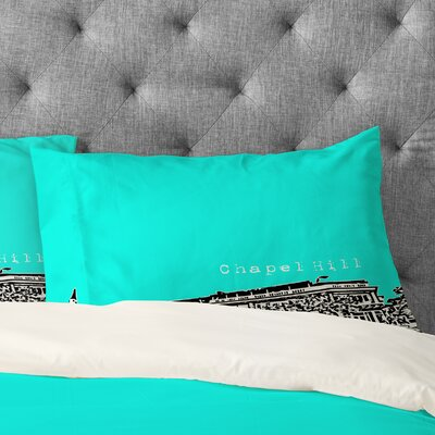 Bird Ave Chapel Hill Pillowcase Color: Aqua, Size: King