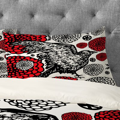Julia Da Rocha Raven Rose Pillowcase Size: Standard