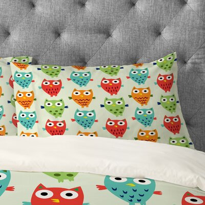 Andi Bird Owl Fun Pillowcase Size: King