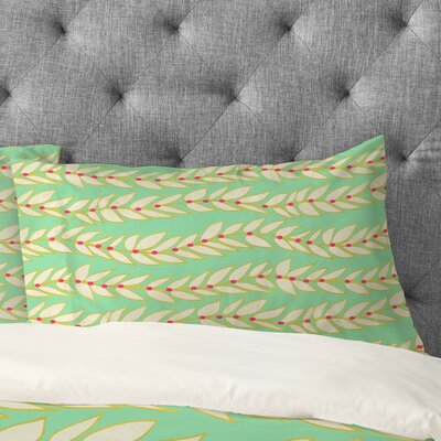 Jacqueline Maldonado Leaf Dot Stripe Mint Pillowcase Size: Standard