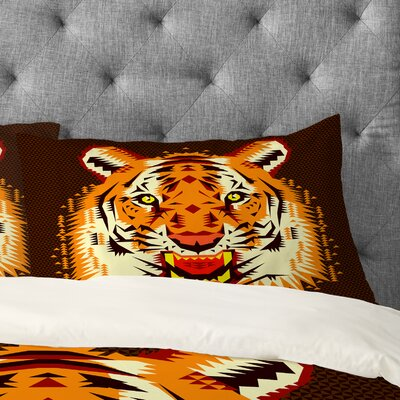Chobopop Geometric Tiger Pillowcase Size: King