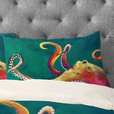 Clara Nilles Mardi Gras Octopus Pillowcase Size: King