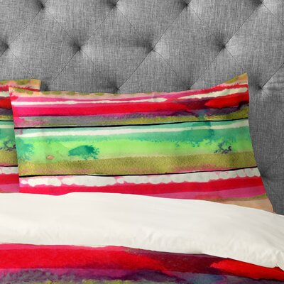 CayenaBlanca Ink Stripes Pillowcase Size: King