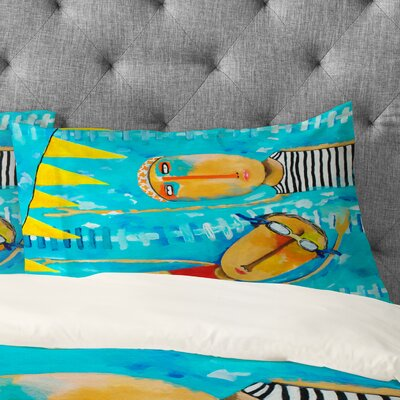 Robin Faye Gates Swimming is Hard Pillowcase Size: King
