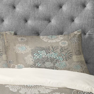 Floral Gray Pillowcase Size: Standard
