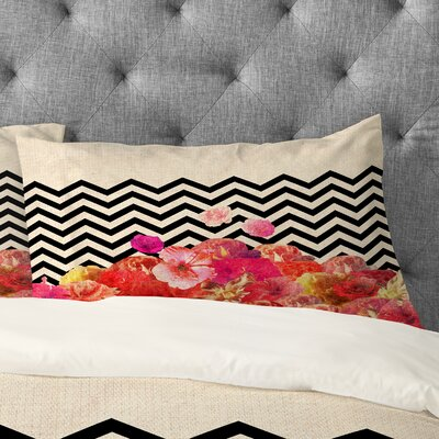Bianca Green Chevron Flora 2 Pillowcase Size: King