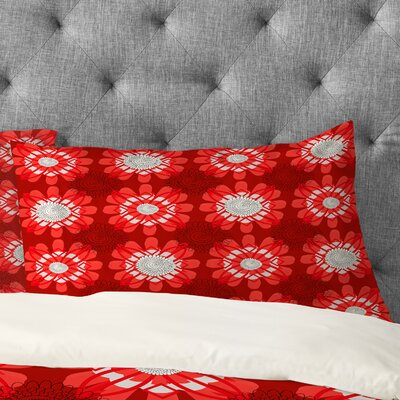 Julia Da Rocha Retro Red Flowers Pillowcase Size: King