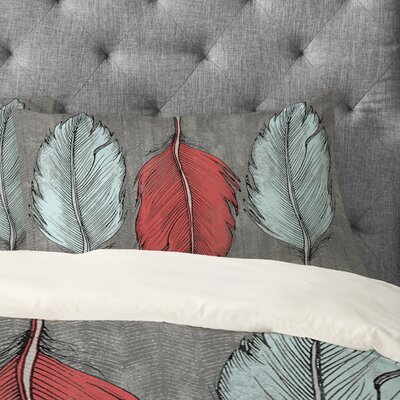 Wesley Bird Feathered Pillowcase Size: King