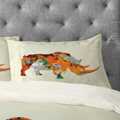 Iveta Abolina Rhino Pillowcase Size: King
