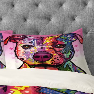 Dean Russo Cherish The Pitbull Pillowcase Size: King