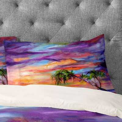 Ginette Fine Art Florida Palms Beach Pillow Case Size: King