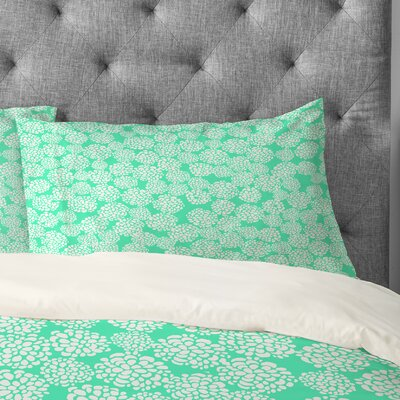 Joy Laforme Dahlias Seafoam Pillowcase Size: Standard