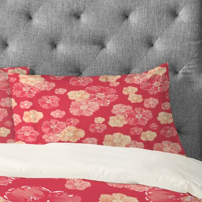 Lisa Argyropoulos Blossoms On Coral Pillowcase Size: King