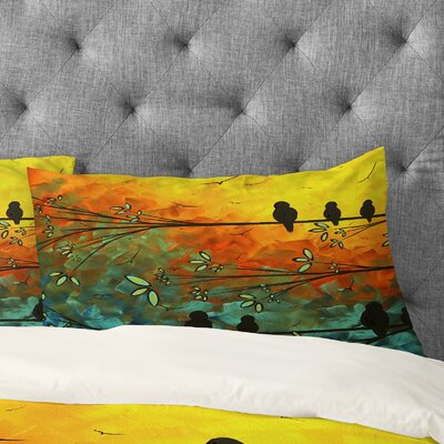 Madart Inc Birds Of A Feather Pillowcase Size: King