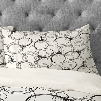 Rachael Taylor Circles Pillowcase Size: Standard, Color: White