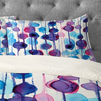 CMYKaren Abstract Watercolor Pillowcase Size: King