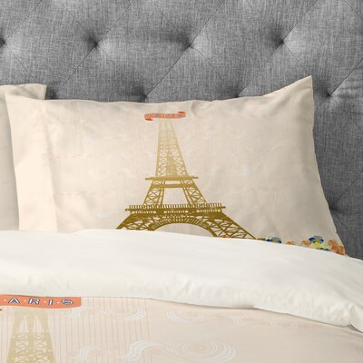 Jennifer Hill Paris Eiffel Tower Pillowcase Size: Standard