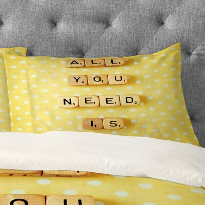 Happee Monkee All You Need Is Love 1 Pillowcase Size: King