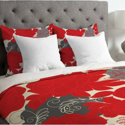 Khristian A Howell Lightweight Rendezvous Duvet Cover Color: Red, Size: King