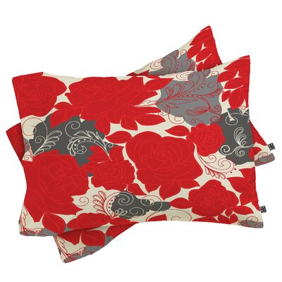 Floral Pillowcase Size: Standard, Color: Red