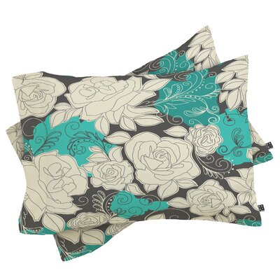 Floral Pillowcase Size: Standard, Color: Ivory