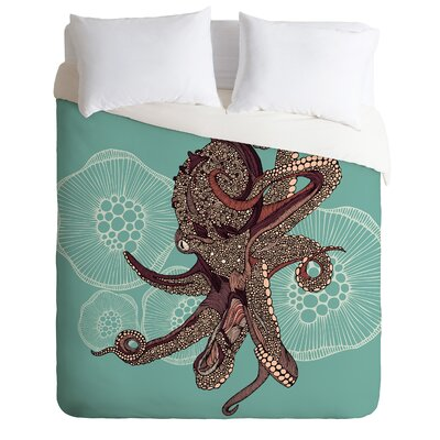 Octopus Bloom Duvet Cover Size: Queen, Fabric: Lightweight